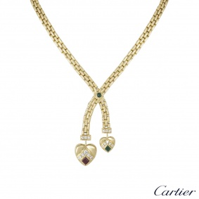 Cartier Yellow Gold Diamond & Multi-Gem 2 Heart Necklace